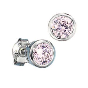 Unos-pendientes-925-Sterling-plata-rhodiniert-2-circonita-rosa-Rose-aretes