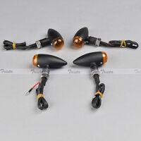 4x Mini Bullet Black Metal Motorcycle Quad Atv Turn Signal Light Bulb Orange Jp
