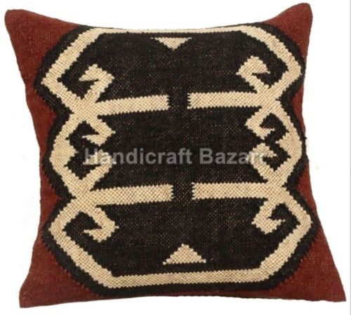 Jute Rug Pillow Throw Case  Handwoven Indian Ethnic Outdoor Kilim Cushion Cover