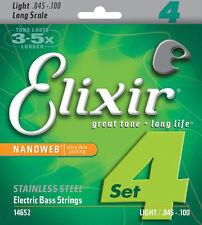 ELIXIR 14652 NANOWEB COATED STAINLESS STEEL BASS STRINGS, LIGHT 4's - 45-100