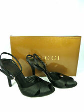 GUCCI BLACK SATIN HIGH HEELS CLASSIC SHOES/SANDALS SIZE 36 US 6
