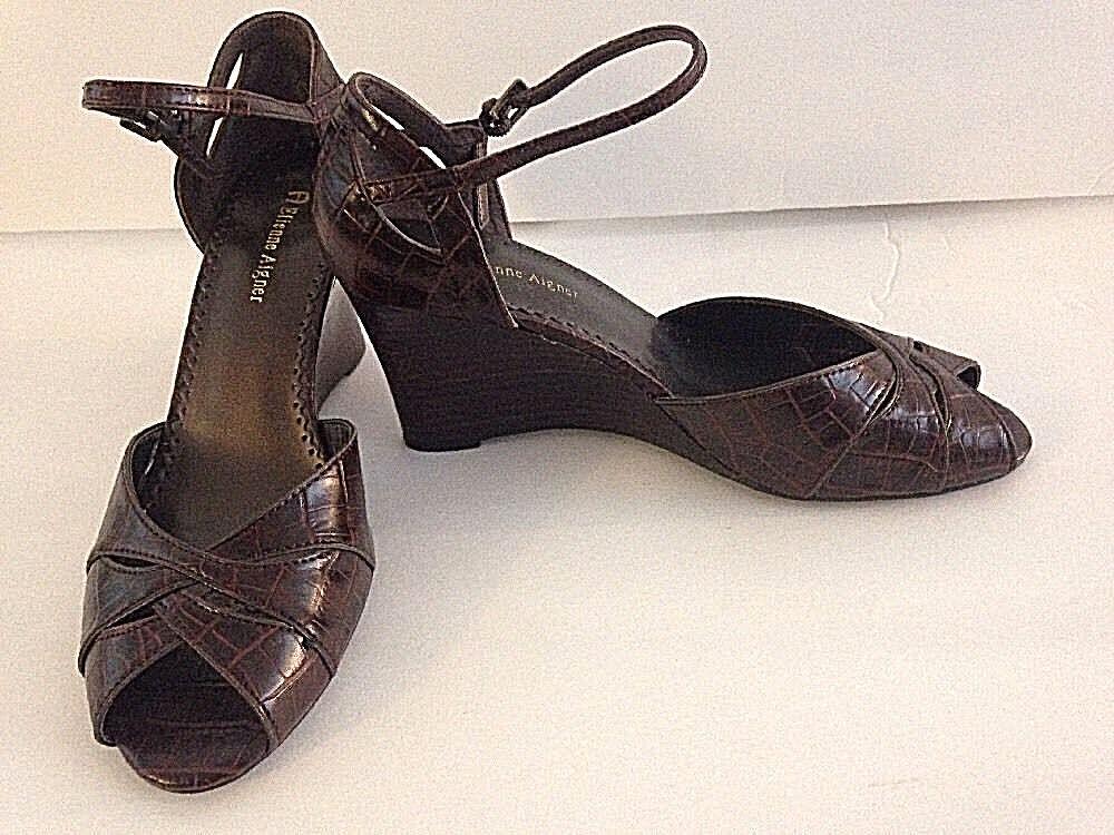 Etienne 8.5M Aigner Brown Wedge Sandals 8.5M Etienne Croc Embossed 8144cc