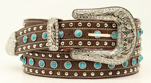 Silver-amp-Turquoise-Studs-NOCONA-Brown-Leather-Western-BELT-COWGIRL-N35222-17