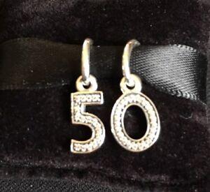 Image Is Loading Genuine PANDORA Silver 50 Birthday Charm Set With