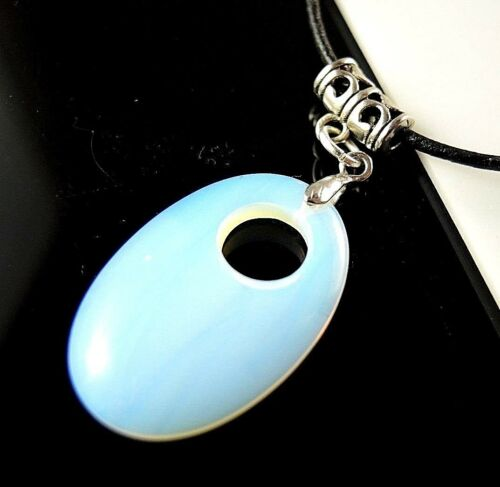 Opalite Oval Gemstone Pendant with Adjustable Leather Necklace #1994