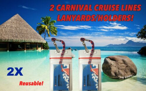 2 CARNIVAL CRUISE LINES I.D HOLDERS /& LANYARDS ZIP LOCK FOR CARNIVAL CARD KEYS