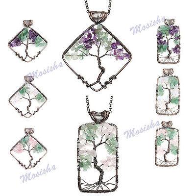 Rhombus Rectangle Double Gemstone Tree Of Life Life-tree Chip Beads Pendant Gift