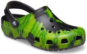 crocs Clog mit Fersenriemen Classic Tie Dye Graphic Clog Schwarz / Limette Punch