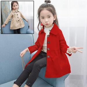 Enfants-Filles-Trench-Coat-Automne-Printemps-Veste-Capuche-Coupe-Vent-Outerwear