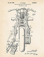 1948 Indian Classic Motorcycle Presents Gifts For Dad Patent Art Print Motorbike