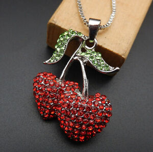Betsey-Johnson-Red-Crystal-Rhinestone-Cherry-Pendant-Sweater-Necklace