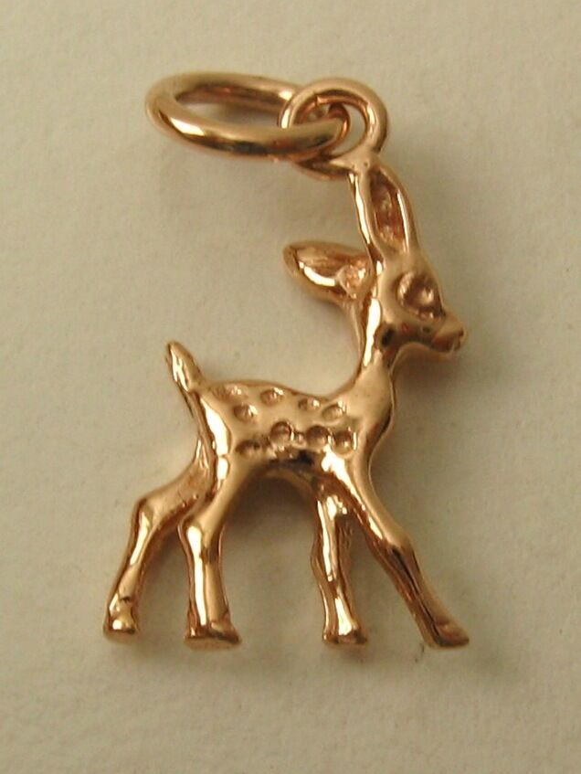 SOLID 9ct pink gold 3D DEER BAMBI ANIMAL CHARM PENDANT