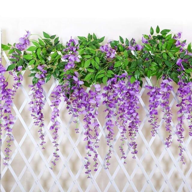 12 piece 36 feet artificial silk wisteria vine ratta hanging 12 pcs 36 feet artificial silk wisteria vine ratta hanging flowers purple new mightylinksfo