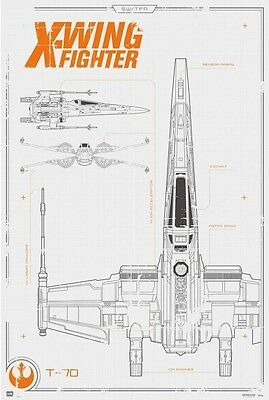 24x36 Star Wars Force Awakens X-Wing Blueprint Licensed Poster shrink wrapped