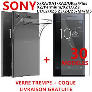 Coque-TPU-Film-Verre-Trempe-Vitre-Protection-SONY-XA1-X-XZ1-XZS-L1-Z-Z3-Z4-Z5