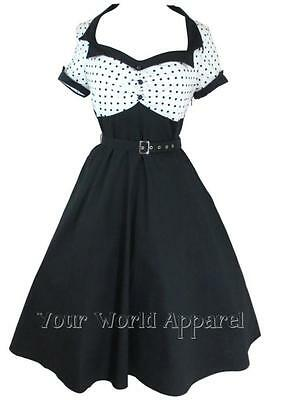 WHITE WITH BLACK POLKA DOTS 50's ROCKABILLY FLARE SWING RETRO VINTAGE DRESS PUNK