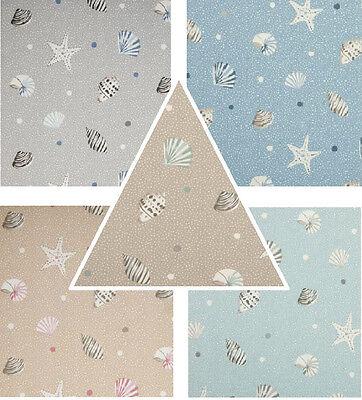 Clarke & Clarke Seashells Sand/ Blue Vintage Shabby Chic Designer Curtain Fabric