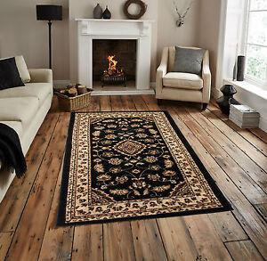 Classic-Traditional-High-Quality-Black-Rug-160-x-230-cm-53-x-77-Carpet