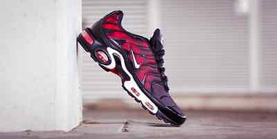 """Nike Air Max Plus Tuned 1 Tn """"Black-White-Challange Red"""" All Sizes"""