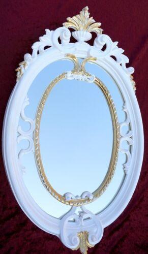 Miroir Mural Baroque OVALE BLANC-OR miroir de salle flurspiegel 50x31 Antique shabby c457
