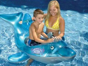 Blue DOLPHIN Stable Ride On FLOAT Swimming POOL Beach Inflatable Vinyl 90453