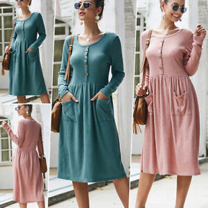 Women-039-s-Vintage-Button-Down-Pockets-Puffy-Swing-Long-Sleeve-Casual-Party-Dress