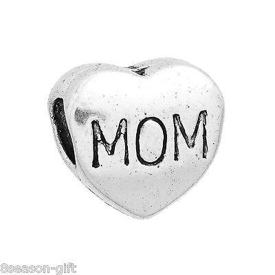 "20Silver Tone ""MOM""Heart Bead Fit Charm Bracelet11x11mm"
