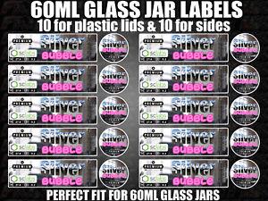 Details about SILVER BUBBLE 60ml glass cali jar labels RX pressitin HIGH  QUALITY