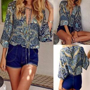 Women-Summer-Long-Sleeve-Lace-Up-V-Neck-Floral-Printed-Boho-Tops-Blouse-T-Shirt