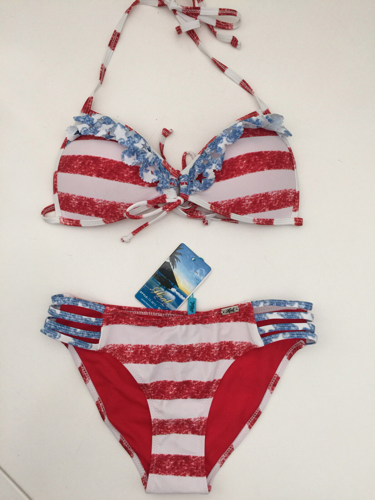 HEAT AMERICAN FLAG STARS AND STRIPES BIKINI BATHING SUIT  SIZE SMALL