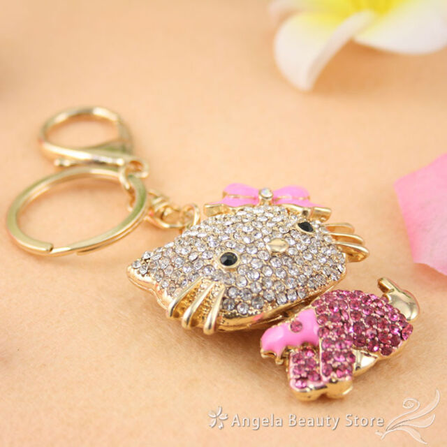 New Dazzling Cute Kitten Cat Crystal Rhinestone Charm Pendant Key Bag Chain Gift