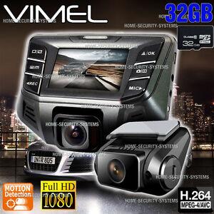 Twin Dashcam Camera 32GB Dual In Car Cam B70S Plus Crashcam Blackbox 1080P