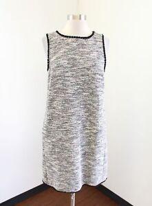 b9b67ffe7f7 Ann Taylor Loft Tweed Fringe Shift Dress Size MP PM White Black Red ...