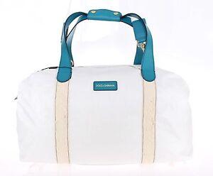 771c3100473f NEW  1300 DOLCE   GABBANA Bag White Nylon Duffle Leather Travel Gym ...
