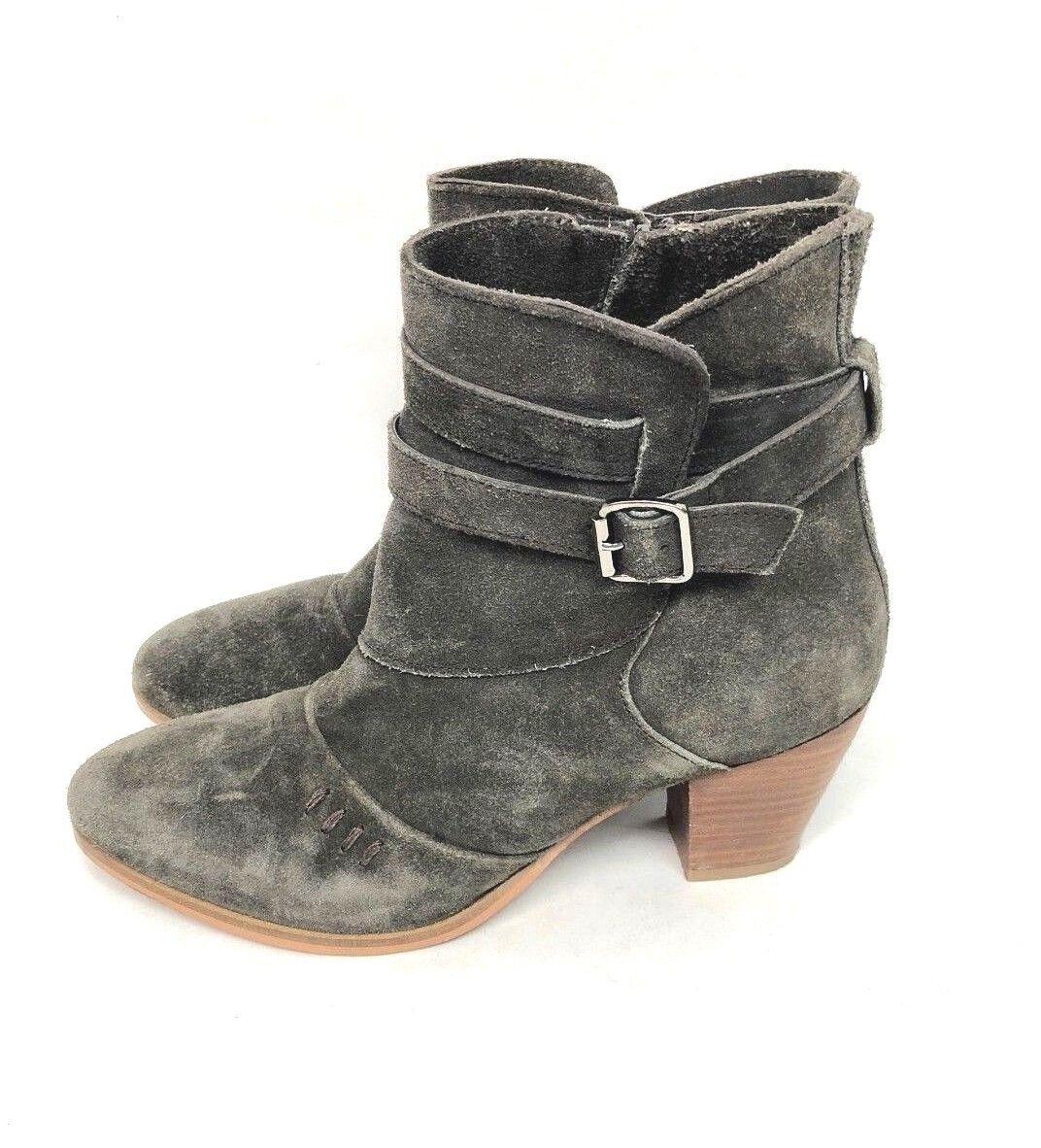 Skechers Womens Ankle Boots  Sz 9 Choc Brown Side Zip Side Buckle Suede