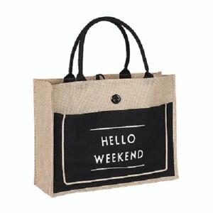 4cf3fa921e97 Hamptons Coastal Style Hello Weekend Black and Jute Market Tote Bag ...