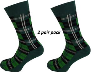 Mens-2-Pair-Pack-Green-Tartan-Socks
