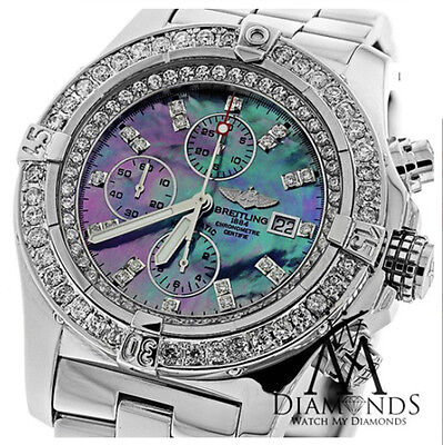 a16cfa93ed4 Breitling Super Avenger Black Mother Of Pearl A13370 Diamond Authentic  Watch