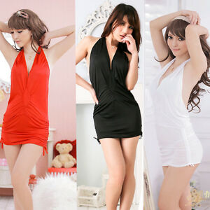 e52dc7149af Women s Sexy Deep V Neck Halter Backless Party Club Cocktail Mini ...