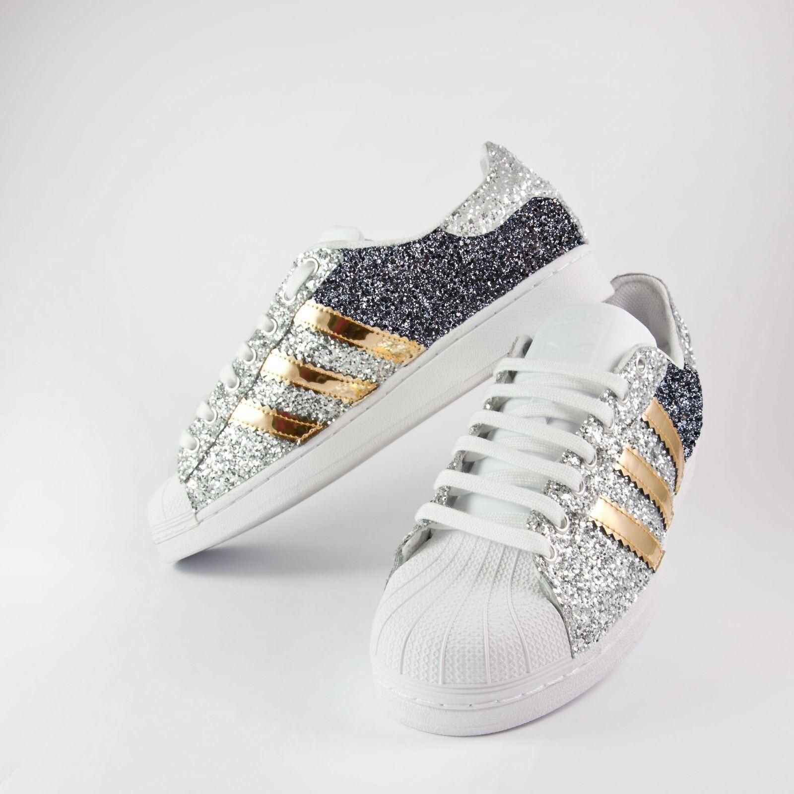 scarpe adidas superstar con glitter argento e grigio piu' specch-iato oro