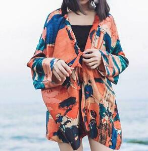 Shirt Women/'s Floral Beach Bohemia Summer Jacket V Neck Casual Holiday Coats