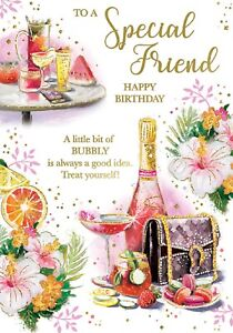To A Special Friend Happy Birthday. Champagne Birthday Card For Female