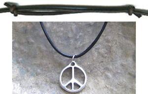 Peace-Halskette-Anhaenger-Hippie-Surfer-Style-Schmuck-Leder-schwarz-braun-Kette