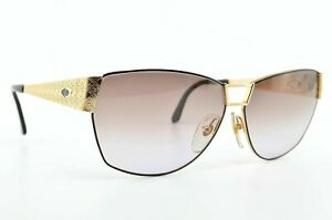 CHRISTIAN-DIOR-Sonnenbrille-Mod-2761-49-Optyl-Gold-Schwarz-Angled-Lady-80s-NOS