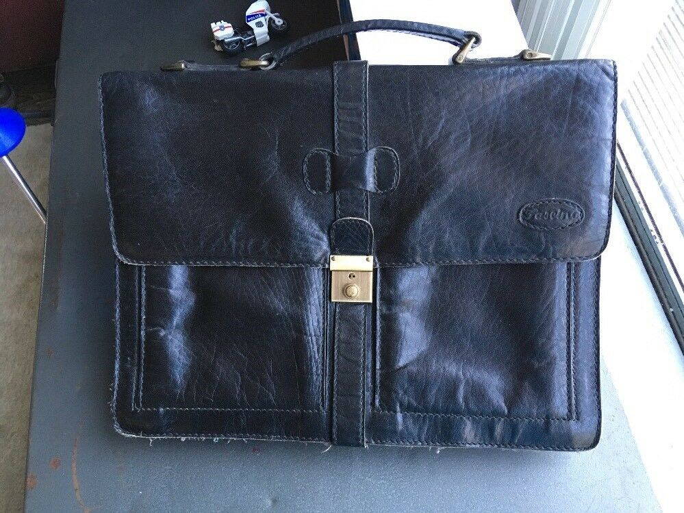 Retro Leather Briefcase (Very Yuppy) Laptop Bag Quality Quality Quality Leather Fascino 80-90s | Günstig  6ad4f2