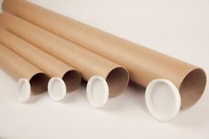 QUALITY CARDBOARD POSTAL TUBES + END CAPS - ALL SIZES A0 A1 A2 A3 A4 2'' / 3''
