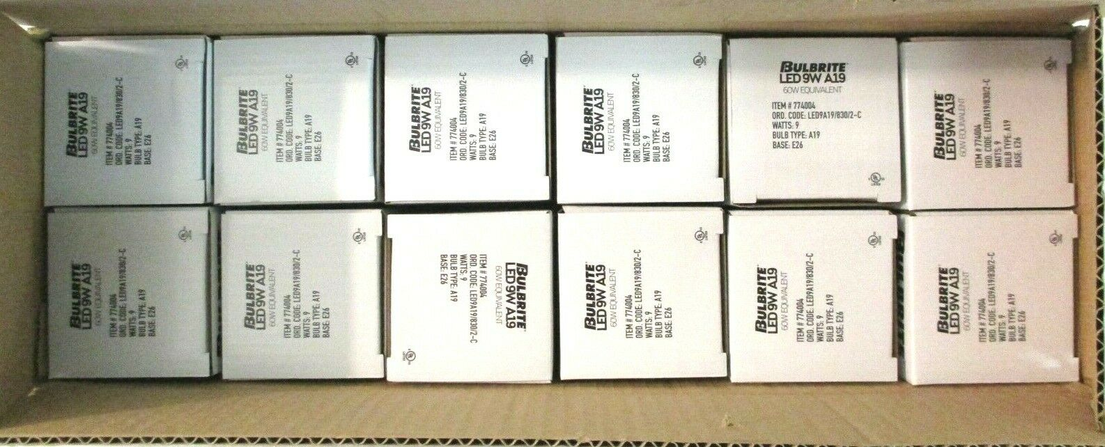 12 Bulbrite LED 9W A19//830//2-C Light Bulb Item #774004 ^