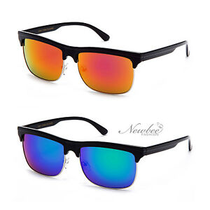a9830265ecafe Wide Half Frame Sunglasses Flash Mirror Lens Flat Top Style Vintage ...