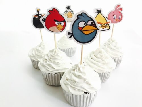 12x Angry Birds Cupcake Topper Pick *HANDMADE* Party Supplies Lolly Bag