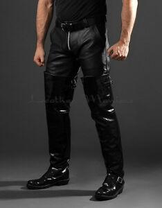 superhohe Lederstiefel aus Lackleder Chopperstiefel Leder Stiefel